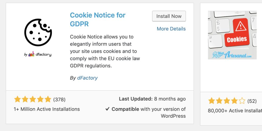 Cookie notice plugin