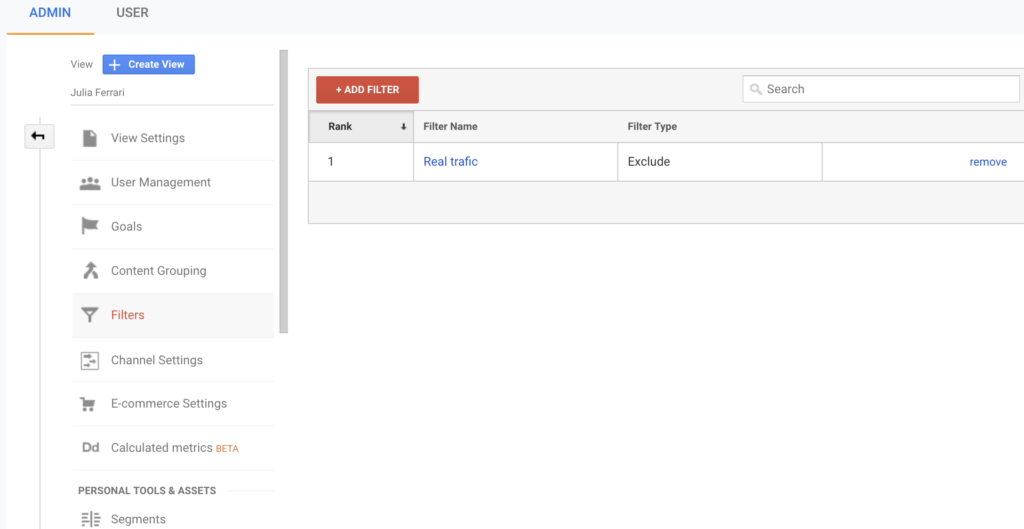 Google Analytics add filter