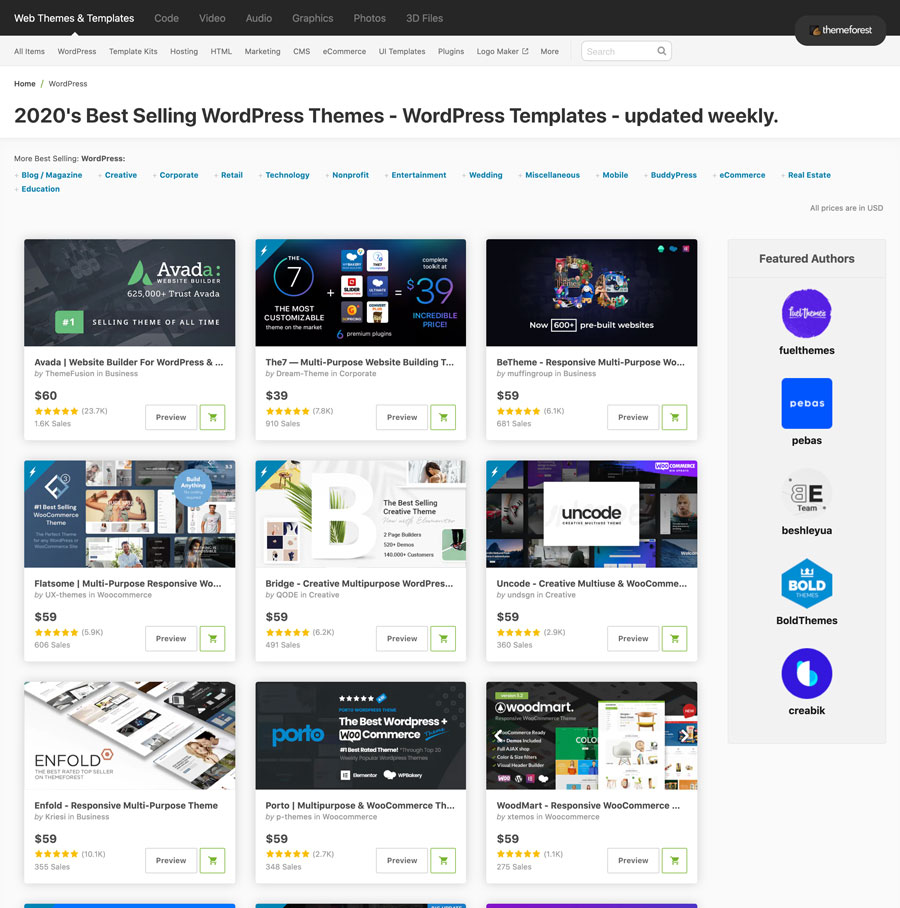 Themeforest WP themes